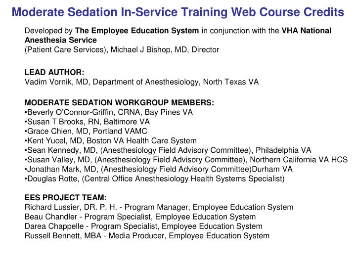 moderate sedation in service training web course credits n.
