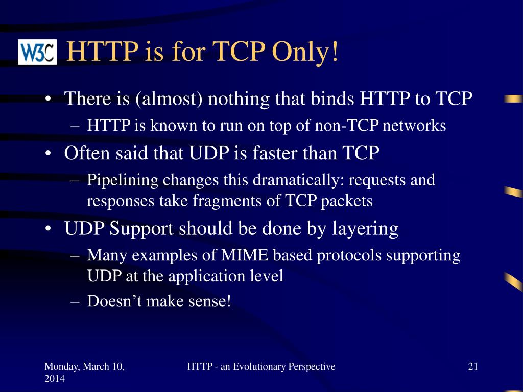HTTP is for TCP Only!