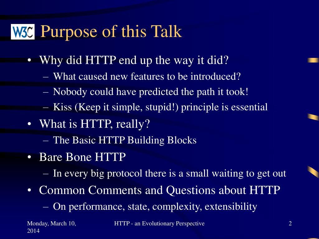 Purpose of this Talk