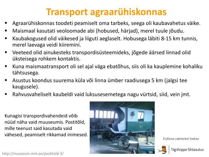 Transport agraar hiskonnas