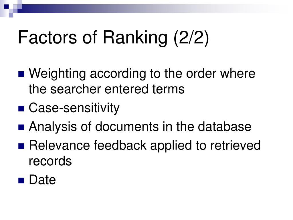 Factors of Ranking (2/2)