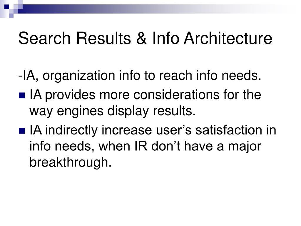 Search Results & Info Architecture