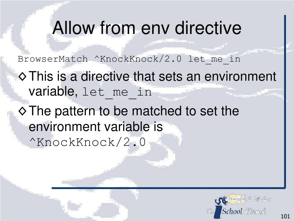 Allow from env directive