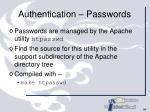 authentication passwords