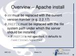 overview apache install31