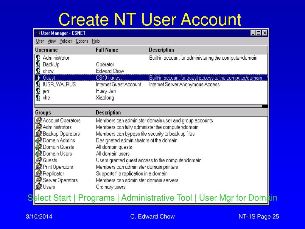 Create NT User Account