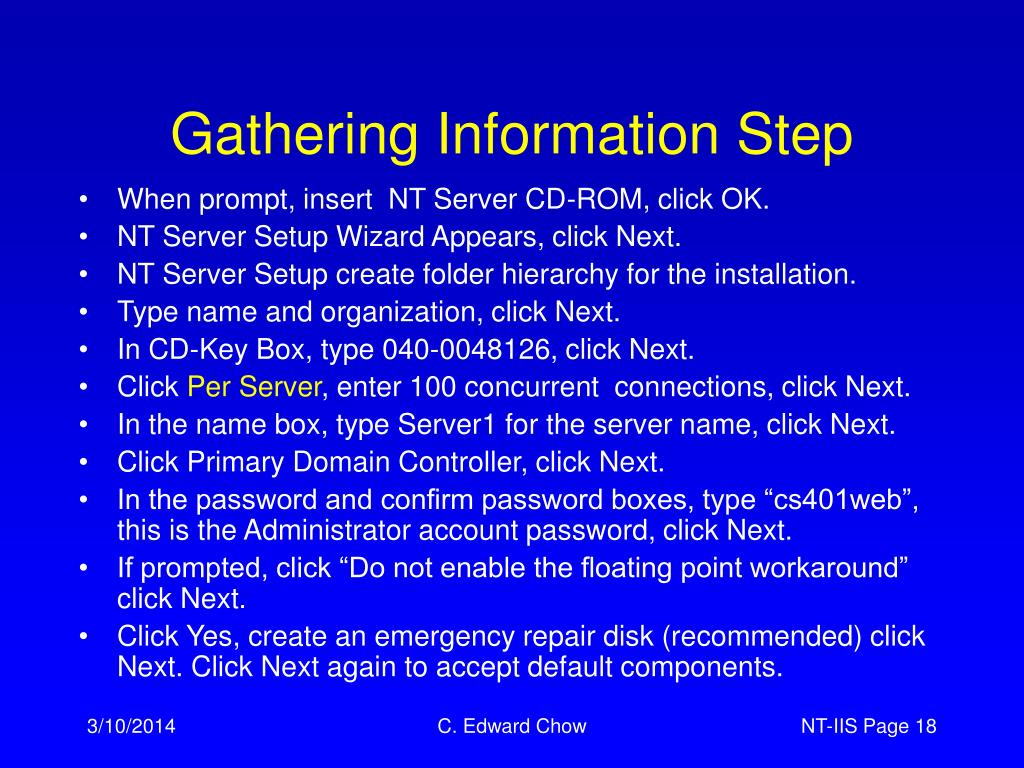 Gathering Information Step