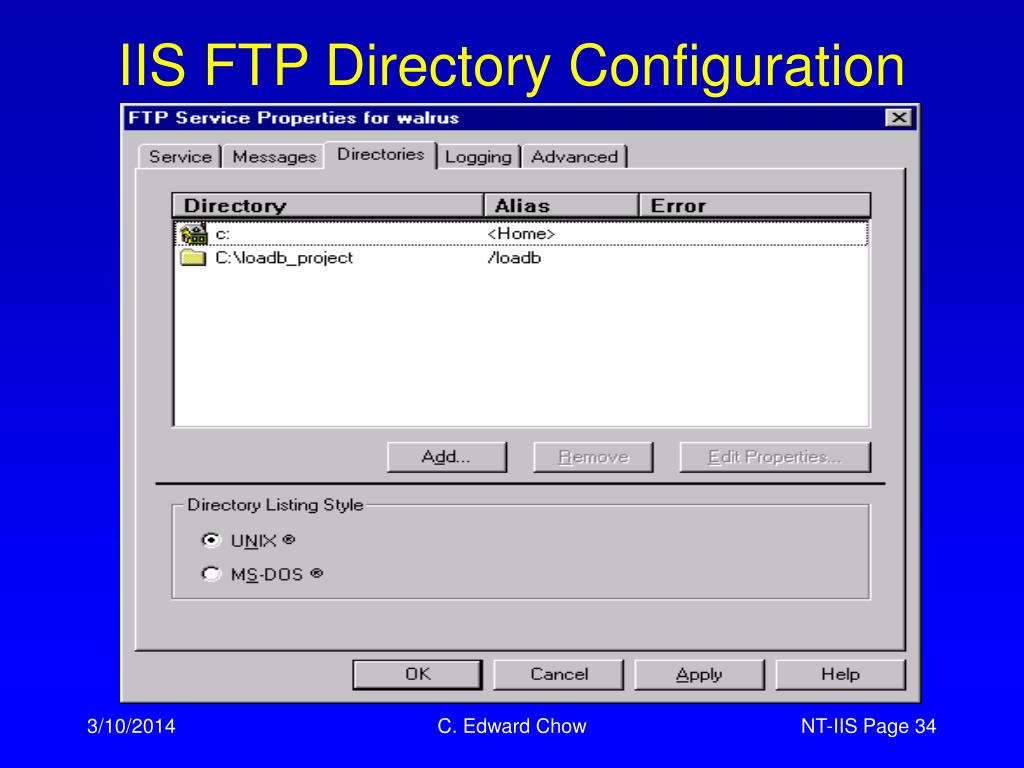 IIS FTP Directory Configuration