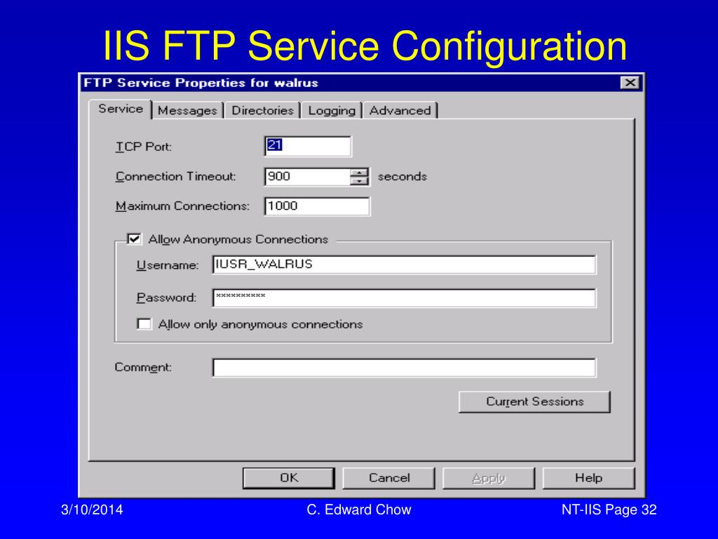 IIS FTP Service Configuration