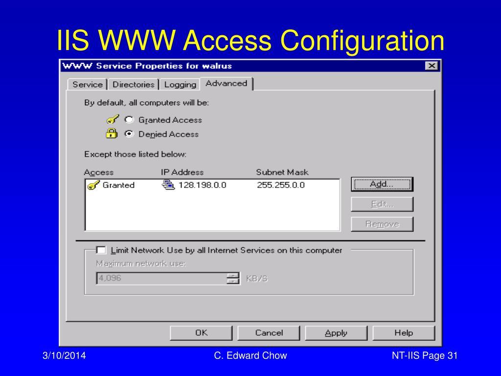 IIS WWW Access Configuration