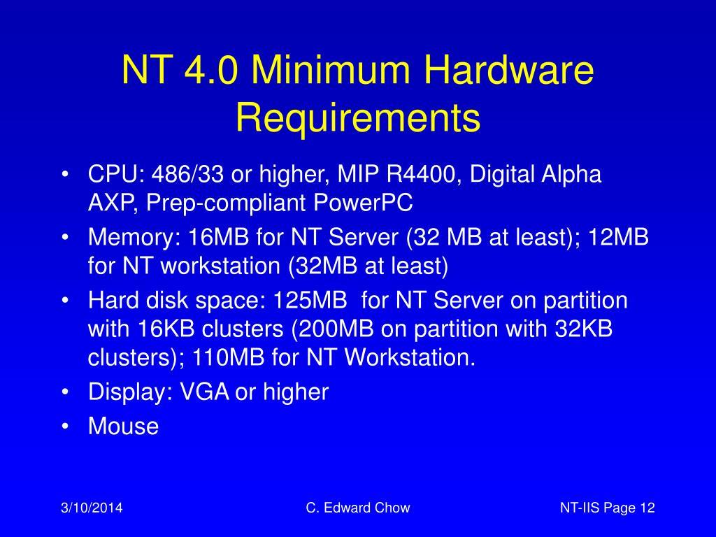 NT 4.0 Minimum Hardware Requirements