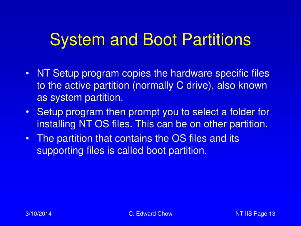 System and Boot Partitions