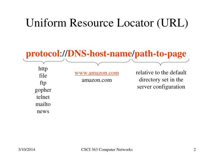 Uniform resource locator url