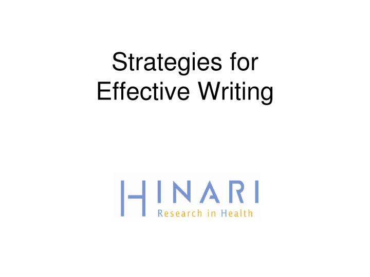 strategies for effective writing n.