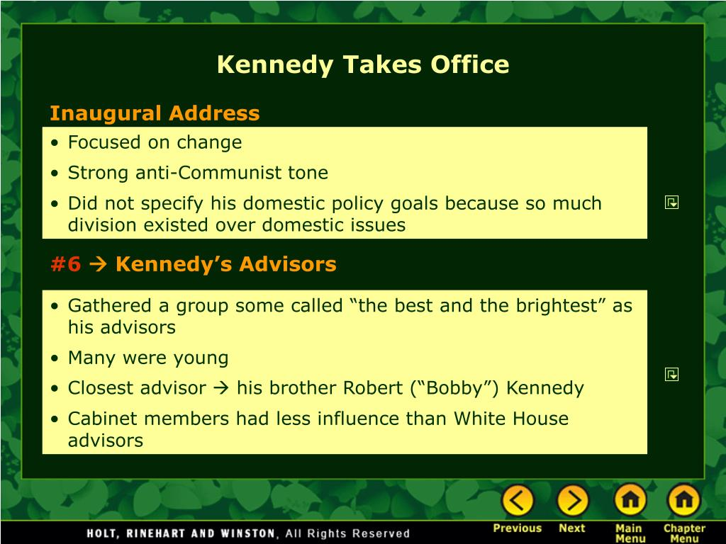 Kennedy Takes Office
