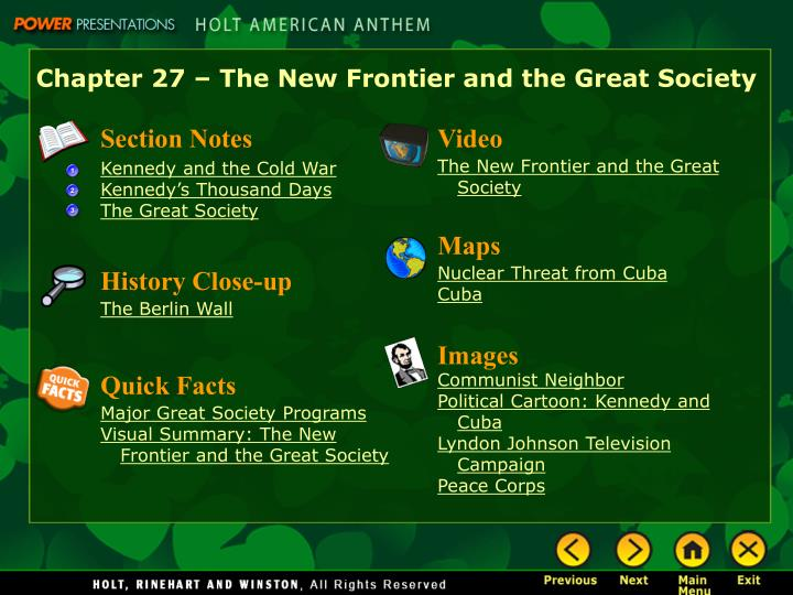 Chapter 27 – The New Frontier and the Great Society