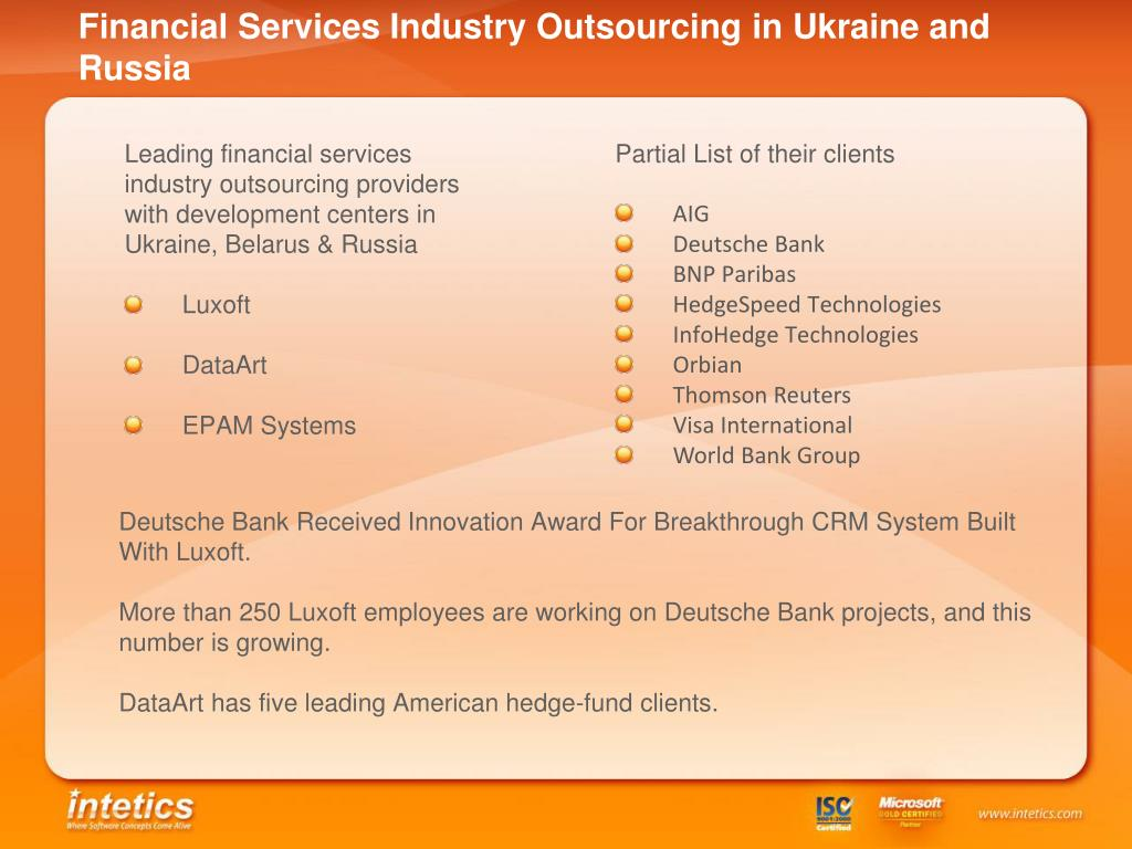 Financial Services Industry Outsourcing in Ukraine and Russia