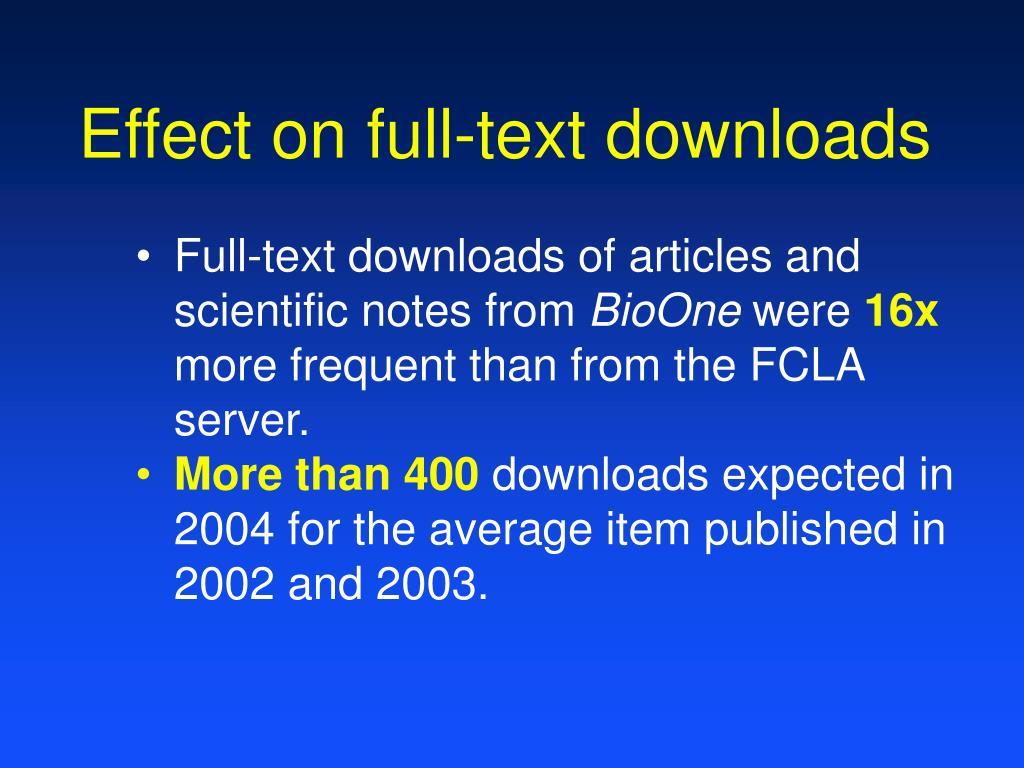 Effect on full-text downloads