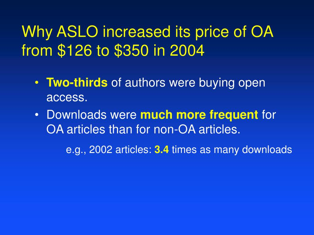Why ASLO increased its price of OA