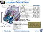 instrument radiator sizing