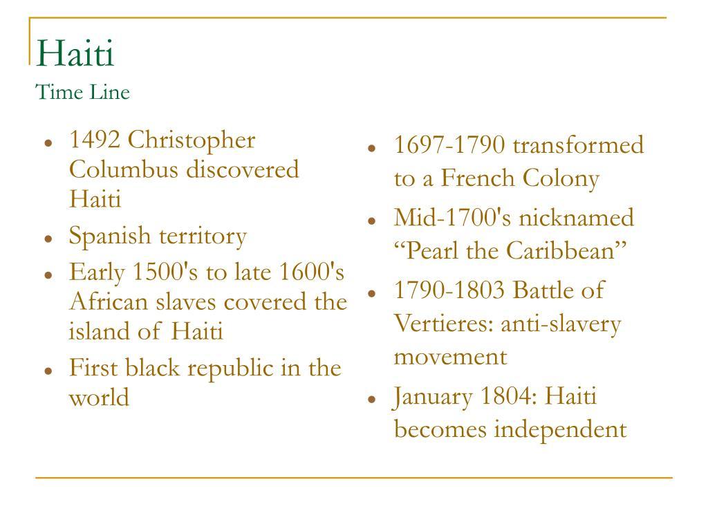 1492 Christopher Columbus discovered Haiti