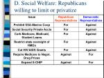 d social welfare republicans willing to limit or privatize