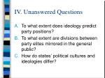 iv unanswered questions
