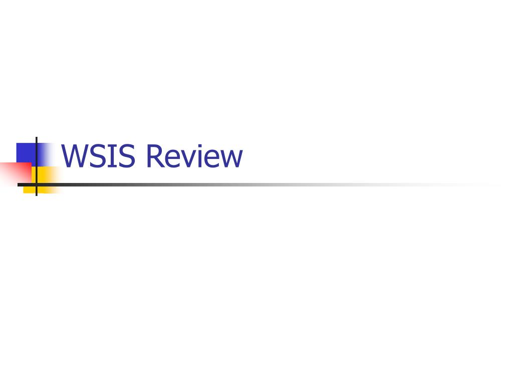wsis review l.