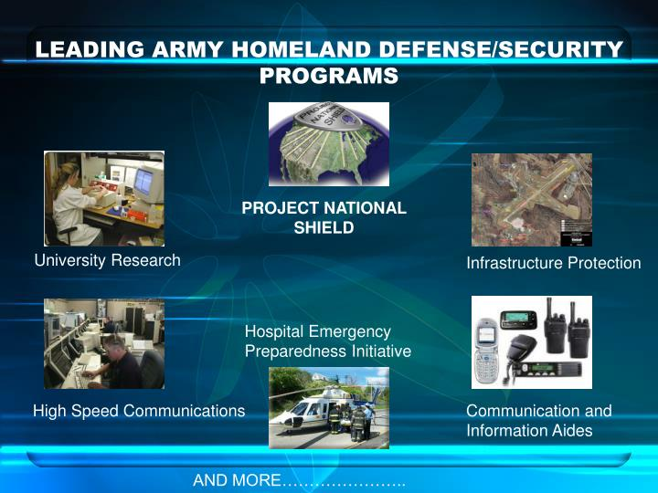LEADING ARMY HOMELAND DEFENSE/SECURITY PROGRAMS
