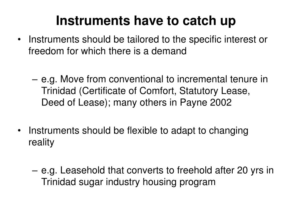 Instruments have to catch up