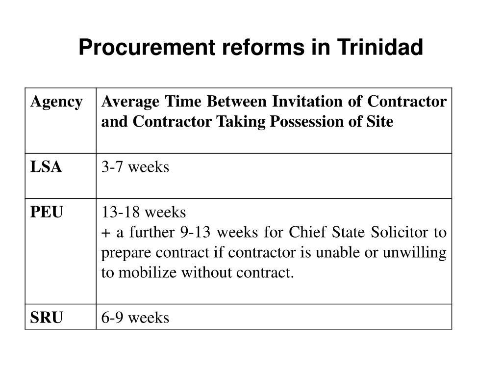 Procurement reforms in Trinidad