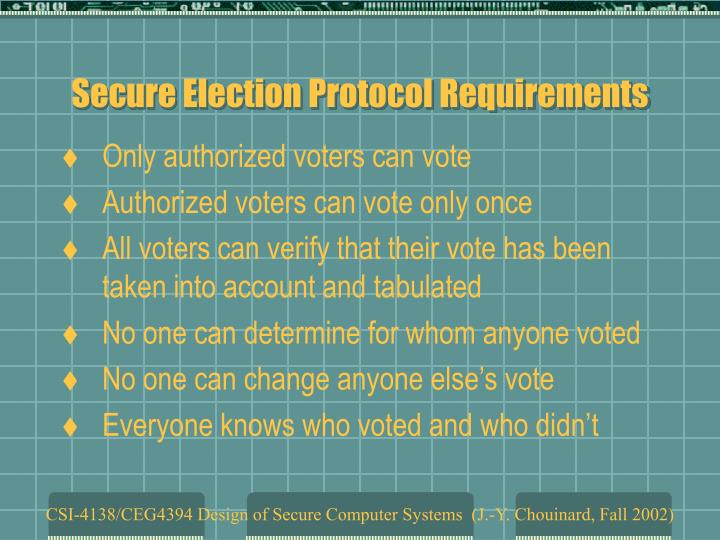 Secure election protocol requirements