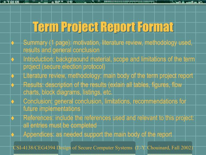 Term Project Report Format
