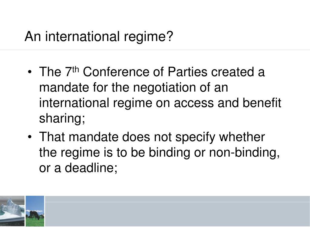 An international regime?