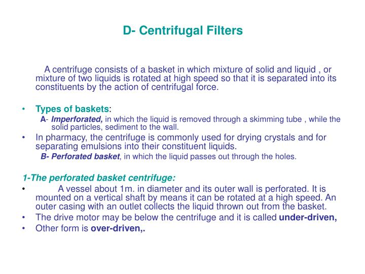 D- Centrifugal Filters