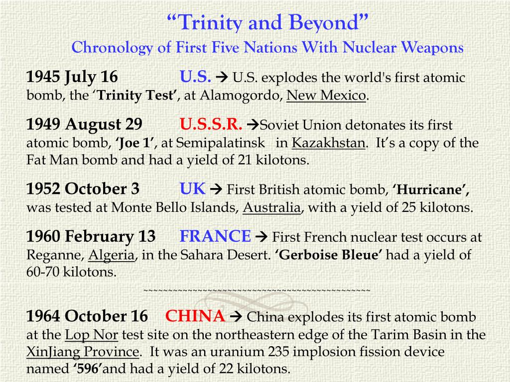 """""""Trinity and Beyond"""""""