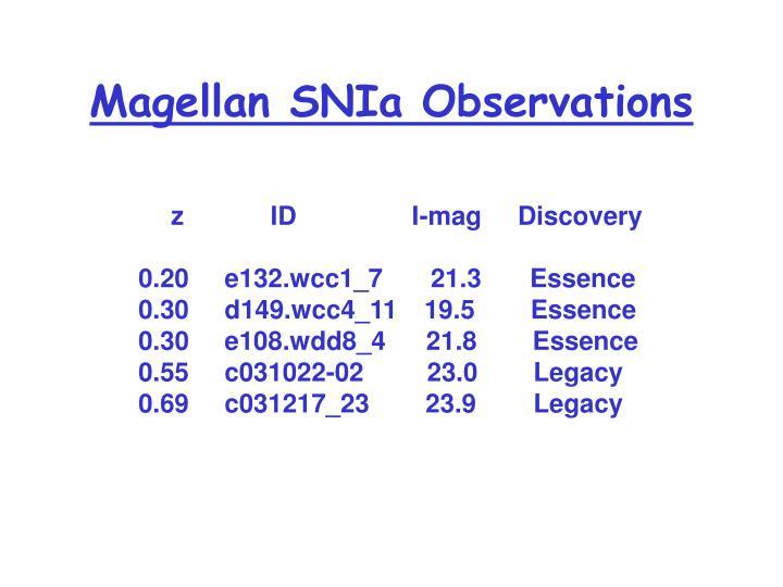 Magellan SNIa Observations