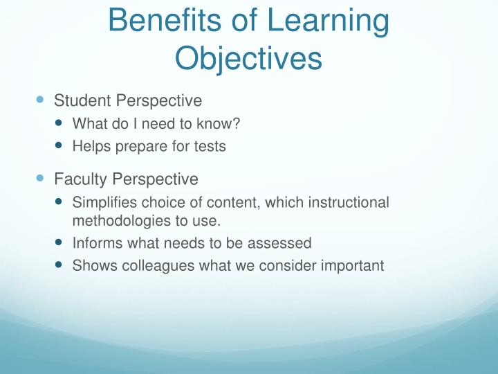 Benefits of Learning Objectives