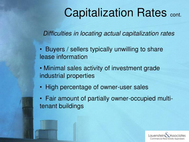 Difficulties in locating actual capitalization rates