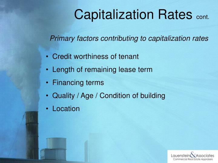 Primary factors contributing to capitalization rates