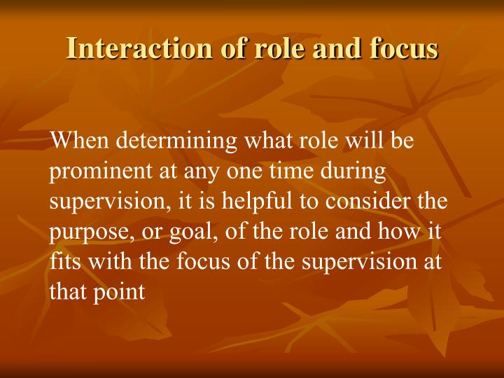 Interaction of role and focus