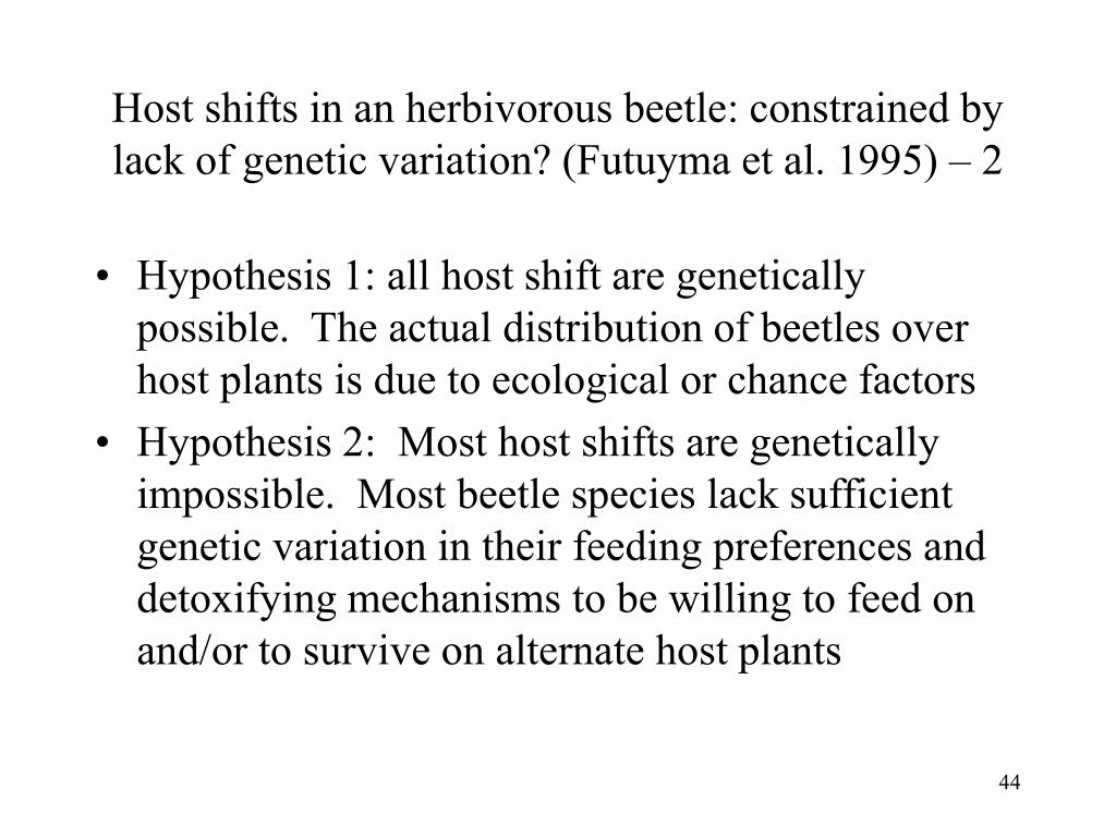 Host shifts in an herbivorous beetle: constrained by lack of genetic variation? (Futuyma et al. 1995) – 2
