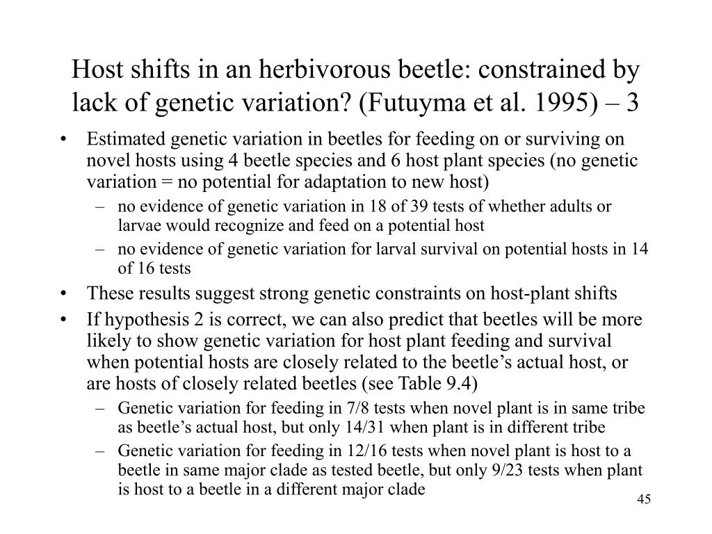 Host shifts in an herbivorous beetle: constrained by lack of genetic variation? (Futuyma et al. 1995) – 3