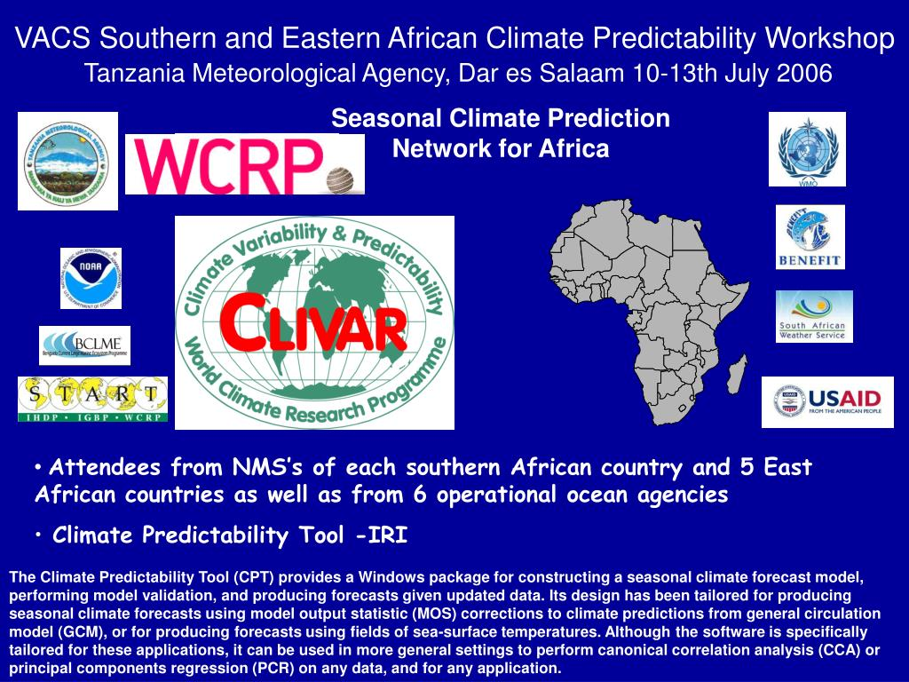 VACS Southern and Eastern African Climate Predictability Workshop