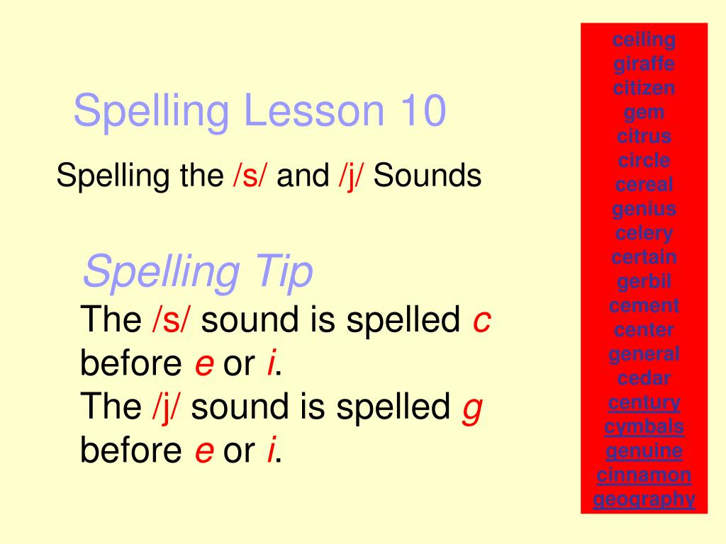 spelling lesson 10 l.
