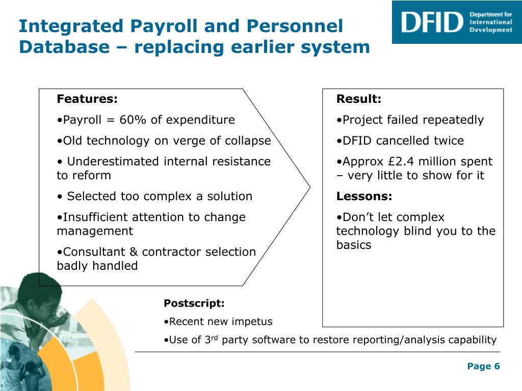 Integrated Payroll and Personnel Database – replacing earlier system