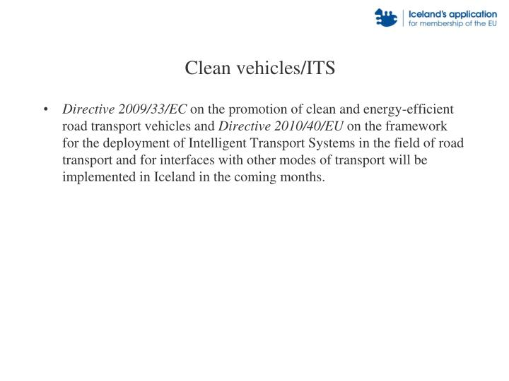 Clean vehicles/ITS