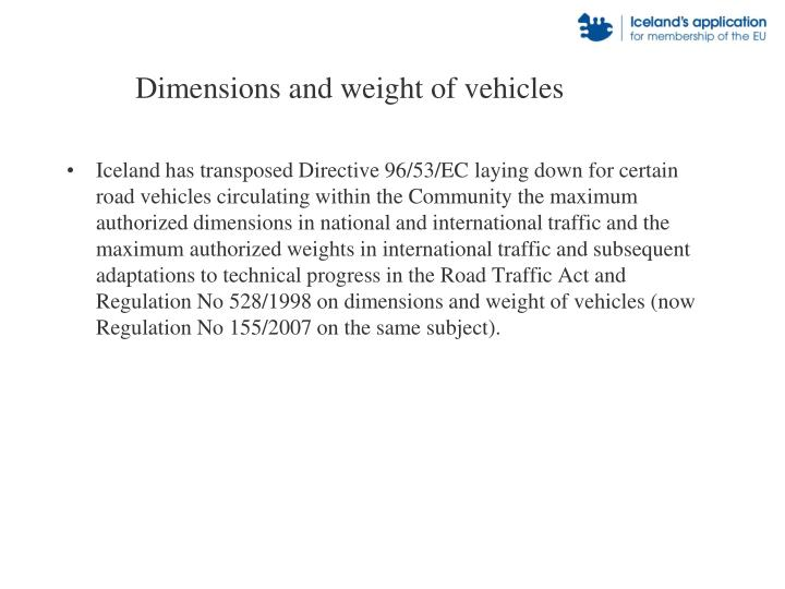 Dimensions and weight of vehicles