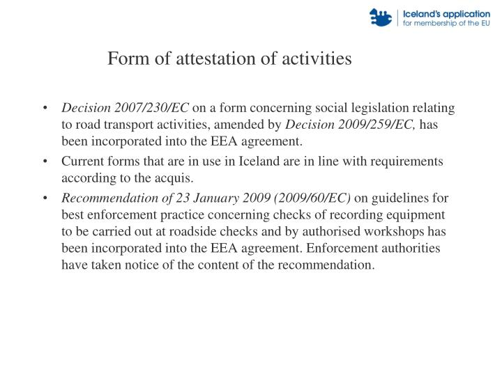 Form of attestation of activities