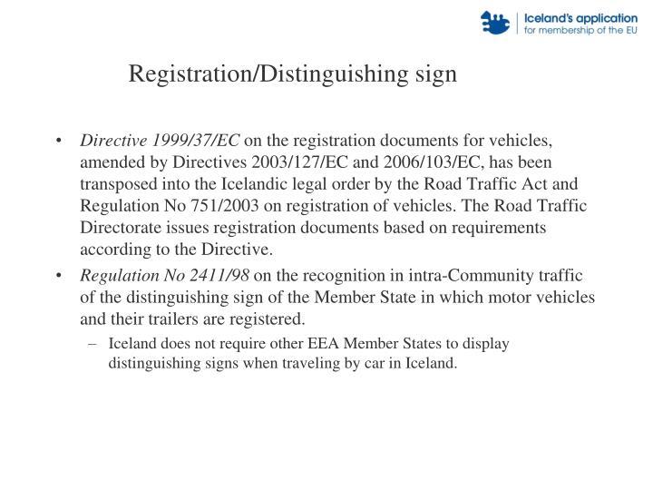 Registration/Distinguishing sign